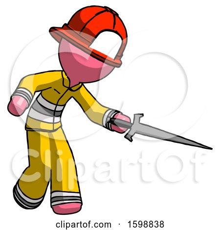 Pink Firefighter Fireman Man Sword Pose Stabbing or Jabbing by Leo Blanchette