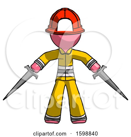 Pink Firefighter Fireman Man Two Sword Defense Pose by Leo Blanchette