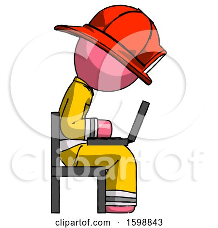 Pink Firefighter Fireman Man Using Laptop Computer While Sitting in Chair View from Side by Leo Blanchette