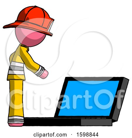 Pink Firefighter Fireman Man Using Large Laptop Computer Side Orthographic View by Leo Blanchette