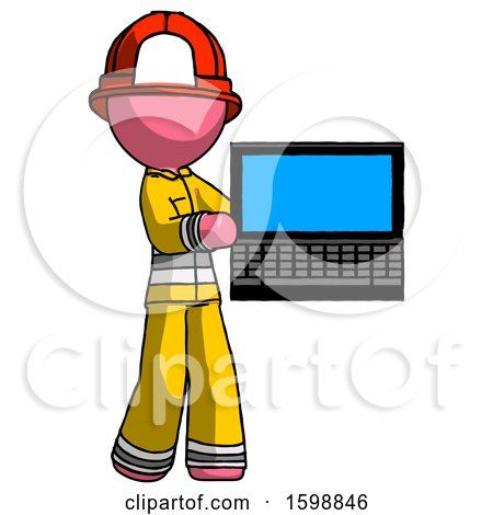 Pink Firefighter Fireman Man Holding Laptop Computer Presenting Something on Screen by Leo Blanchette