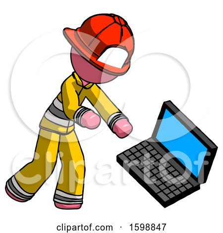 Pink Firefighter Fireman Man Throwing Laptop Computer in Frustration by Leo Blanchette