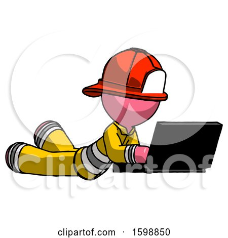 Pink Firefighter Fireman Man Using Laptop Computer While Lying on Floor Side Angled View by Leo Blanchette