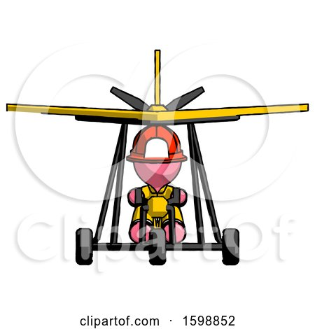 Pink Firefighter Fireman Man in Ultralight Aircraft Front View by Leo Blanchette