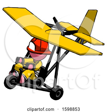 Pink Firefighter Fireman Man in Ultralight Aircraft Top Side View by Leo Blanchette