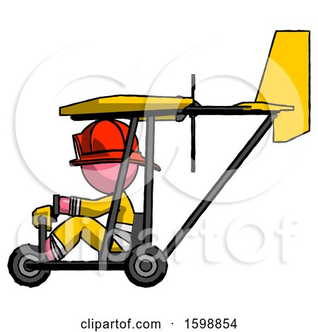 Pink Firefighter Fireman Man in Ultralight Aircraft Side View by Leo Blanchette