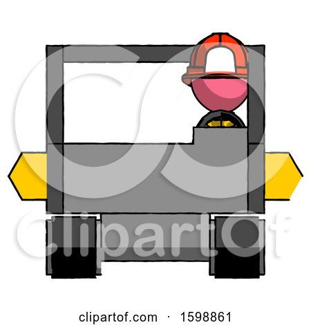 Pink Firefighter Fireman Man Driving Amphibious Tracked Vehicle Front View by Leo Blanchette