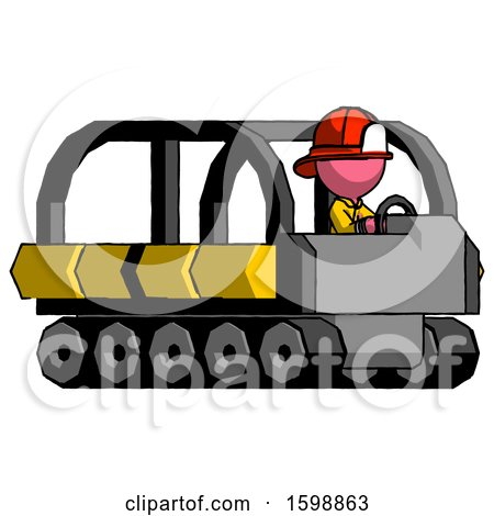 Pink Firefighter Fireman Man Driving Amphibious Tracked Vehicle Side Angle View by Leo Blanchette