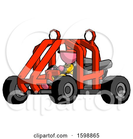 Pink Firefighter Fireman Man Riding Sports Buggy Side Angle View by Leo Blanchette