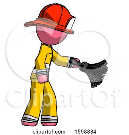 Pink Firefighter Fireman Man Dusting with Feather Duster Downwards by Leo Blanchette