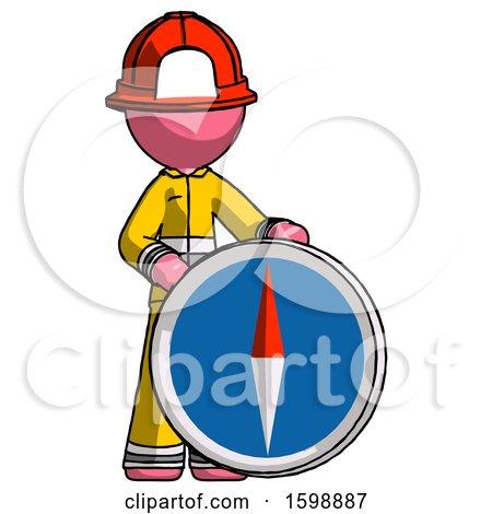 Pink Firefighter Fireman Man Standing Beside Large Compass by Leo Blanchette