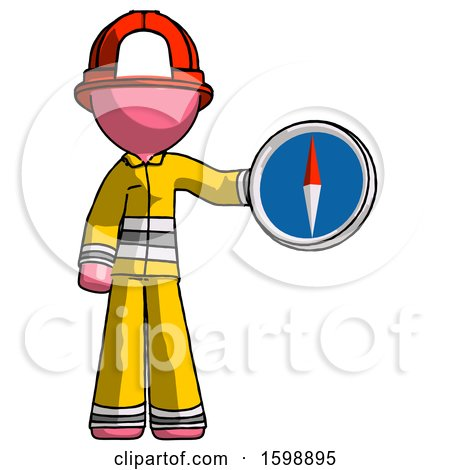 Pink Firefighter Fireman Man Holding a Large Compass by Leo Blanchette