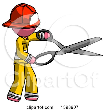 Pink Firefighter Fireman Man Holding Giant Scissors Cutting out Something by Leo Blanchette