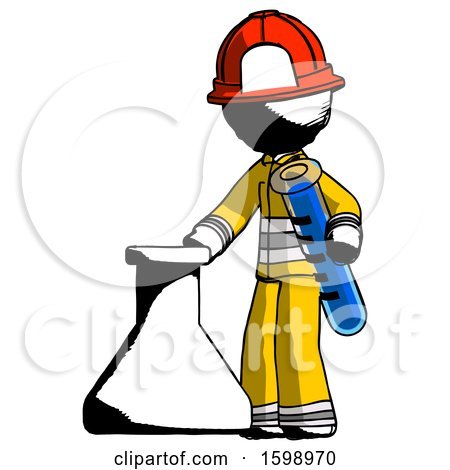 Ink Firefighter Fireman Man Holding Test Tube Beside Beaker or Flask by Leo Blanchette
