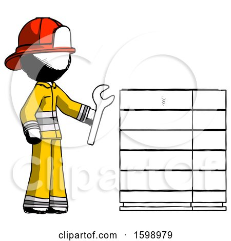 Ink Firefighter Fireman Man Server Administrator Doing Repairs by Leo Blanchette
