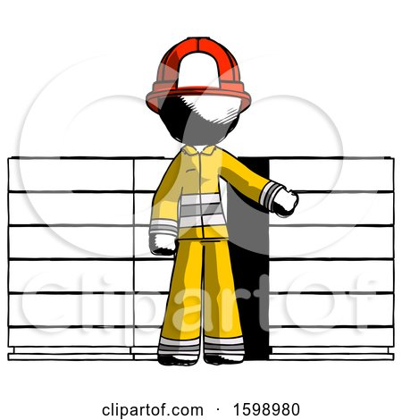 Ink Firefighter Fireman Man with Server Racks, in Front of Two Networked Systems by Leo Blanchette