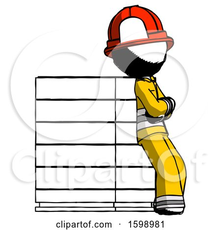 Ink Firefighter Fireman Man Resting Against Server Rack Viewed at Angle by Leo Blanchette