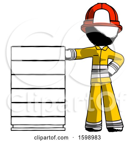 Ink Firefighter Fireman Man with Server Rack Leaning Confidently Against It by Leo Blanchette