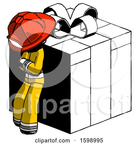 Ink Firefighter Fireman Man Leaning on Gift with Red Bow Angle View by Leo Blanchette
