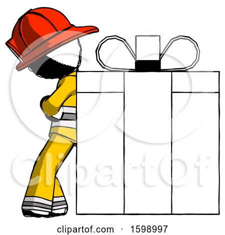 Ink Firefighter Fireman Man Gift Concept - Leaning Against Large Present by Leo Blanchette