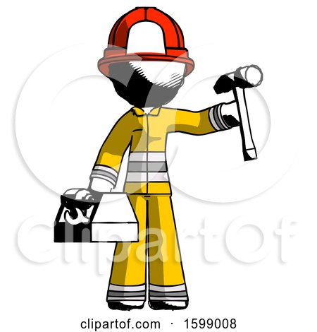 Ink Firefighter Fireman Man Holding Tools and Toolchest Ready to Work by Leo Blanchette