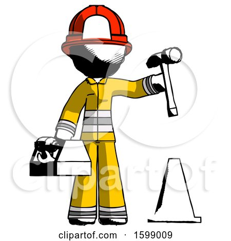 Ink Firefighter Fireman Man Under Construction Concept, Traffic Cone and Tools by Leo Blanchette