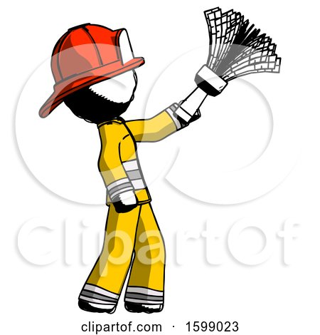 Ink Firefighter Fireman Man Dusting with Feather Duster Upwards by Leo Blanchette