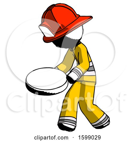 Ink Firefighter Fireman Man Walking with Large Compass by Leo Blanchette