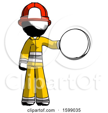 Ink Firefighter Fireman Man Holding a Large Compass by Leo Blanchette