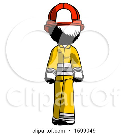 Ink Firefighter Fireman Man Walking Front View by Leo Blanchette
