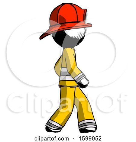 Ink Firefighter Fireman Man Walking Right Side View by Leo Blanchette