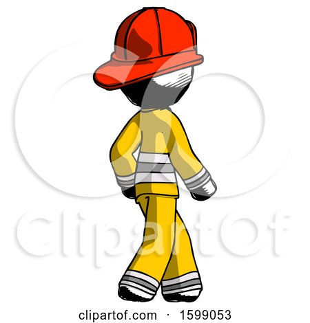Ink Firefighter Fireman Man Walking Away Direction Right View by Leo Blanchette