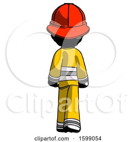 Ink Firefighter Fireman Man Walking Away, Back View by Leo Blanchette