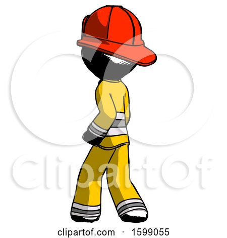 Ink Firefighter Fireman Man Walking Away Direction Left View by Leo Blanchette