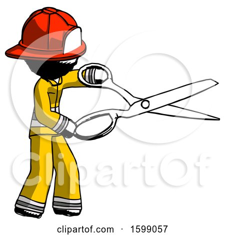Ink Firefighter Fireman Man Holding Giant Scissors Cutting out Something by Leo Blanchette