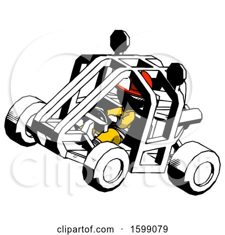 Ink Firefighter Fireman Man Riding Sports Buggy Side Top Angle View by Leo Blanchette