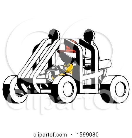 Ink Firefighter Fireman Man Riding Sports Buggy Side Angle View by Leo Blanchette