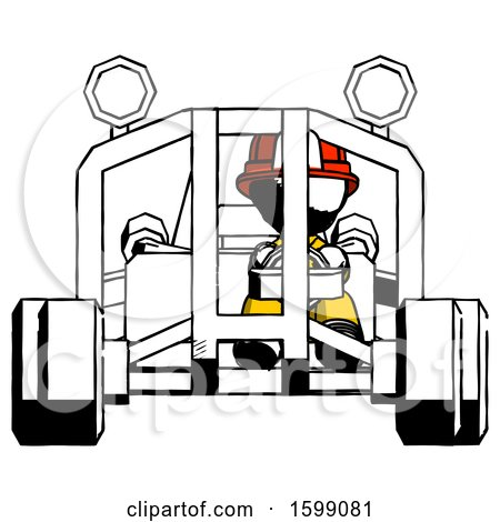 Ink Firefighter Fireman Man Riding Sports Buggy Front View by Leo Blanchette