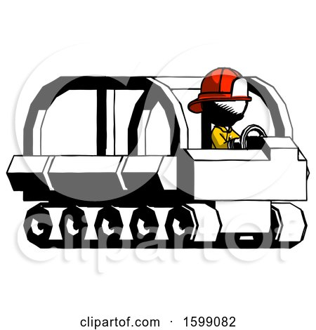 Ink Firefighter Fireman Man Driving Amphibious Tracked Vehicle Side Angle View by Leo Blanchette