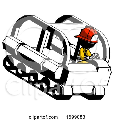 Ink Firefighter Fireman Man Driving Amphibious Tracked Vehicle Top Angle View by Leo Blanchette
