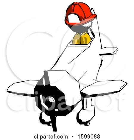 Ink Firefighter Fireman Man in Geebee Stunt Plane Descending Front Angle View by Leo Blanchette