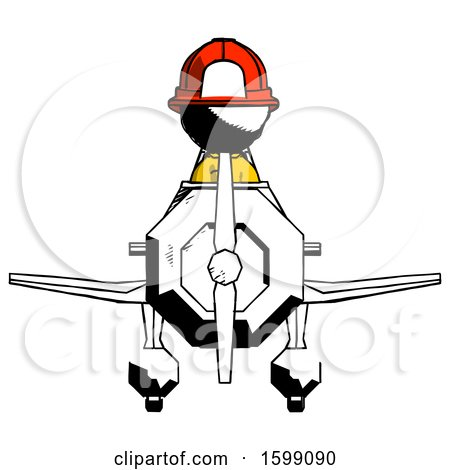 Ink Firefighter Fireman Man in Geebee Stunt Plane Front View by Leo Blanchette