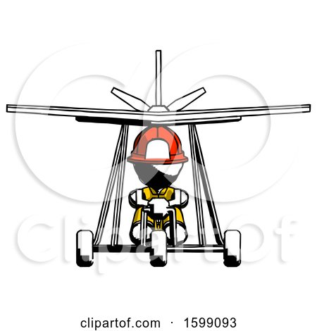 Ink Firefighter Fireman Man in Ultralight Aircraft Front View by Leo Blanchette