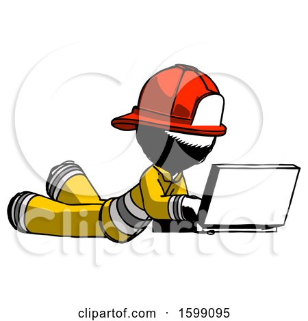Ink Firefighter Fireman Man Using Laptop Computer While Lying on Floor Side Angled View by Leo Blanchette