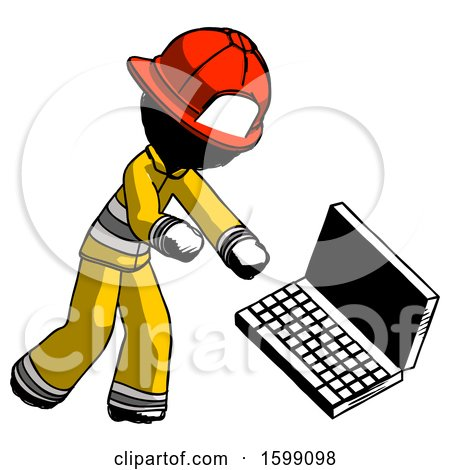 Ink Firefighter Fireman Man Throwing Laptop Computer in Frustration by Leo Blanchette
