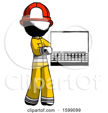Ink Firefighter Fireman Man Holding Laptop Computer Presenting Something on Screen by Leo Blanchette