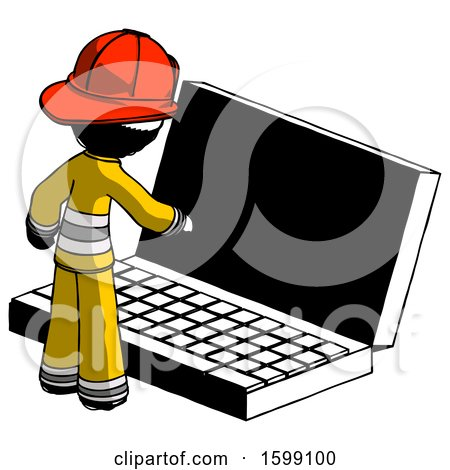 Ink Firefighter Fireman Man Using Large Laptop Computer by Leo Blanchette