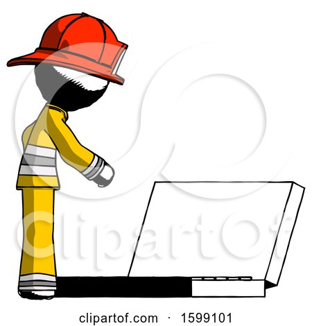 Ink Firefighter Fireman Man Using Large Laptop Computer Side Orthographic View by Leo Blanchette