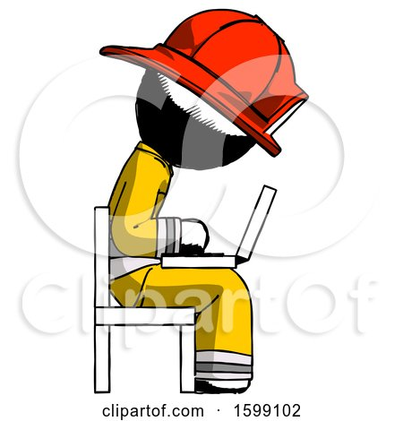 Ink Firefighter Fireman Man Using Laptop Computer While Sitting in Chair View from Side by Leo Blanchette