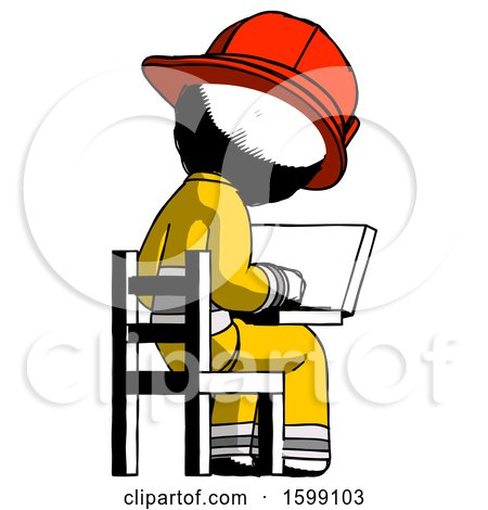 Ink Firefighter Fireman Man Using Laptop Computer While Sitting in Chair View from Back by Leo Blanchette